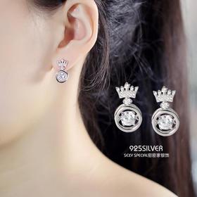 密密家日韩S925纯银跳动的心皇冠耳钉女灵动锆石气质韩国甜美耳饰