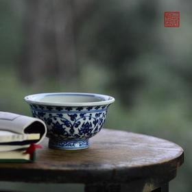 长物居 永乐名器青花压手杯 景德镇仿古陶瓷茶杯陶瓷茶具