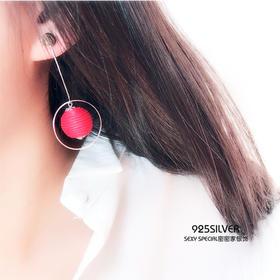 个性潮925纯银冬季耳环女红色绳球几何手工夸张耳饰耳坠港风耳钉