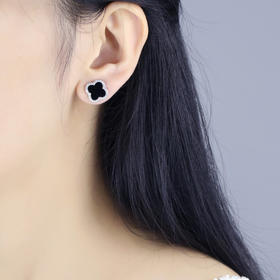 「密密家」S925纯银黑色玛瑙四叶草耳钉耳环女简约时尚大气明星款