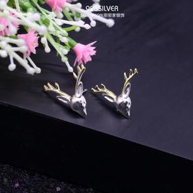 密密家925纯银网红同款麋鹿鹿角耳钉女 清新韩国简约银饰森系耳饰
