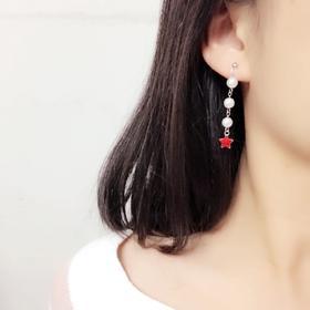 限量版·925纯银韩国星星贝珠耳钉女时尚耳环显脸瘦气质长款吊坠