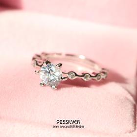 925纯银明星杂志款锆石六爪锆钻开口戒指女日韩潮人个性时尚指环