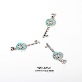 日韩S925纯银时尚唯美清新幸福钥匙吊坠女单颗不含链项坠项链坠子