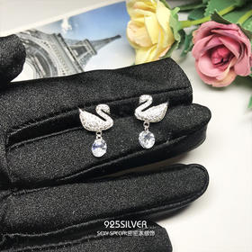 925纯银白天鹅耳钉女气质韩国个性冬款小耳坠精致可爱耳环超萌潮