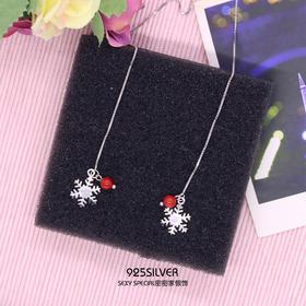 925纯银耳线韩国气质显脸瘦的雪花红珠吊坠长款超仙耳环新年耳坠