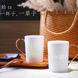 创意陶瓷杯子大容量水杯马克杯简约情侣咖啡杯牛奶礼物玲珑瓷茶杯