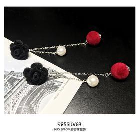 925纯银手作玫瑰花红毛绒球球耳钉复古耳环长款韩国个性气质女潮