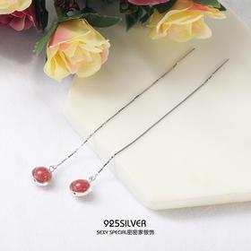 925纯银天然草莓晶耳线少女心ins圆脸耳环女适合显脸瘦的耳环长款