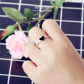 925纯银桃心形可爱爱心开口戒指女网红指环时尚简约日韩潮人学生