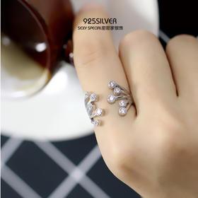 时尚日韩S925纯银创意焰火锆石气质唯美个性潮女戒指指环戒子新款