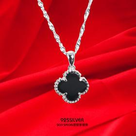 925纯银黑玛瑙幸运双面四叶草项链吊坠女单颗不含链韩版项坠坠子