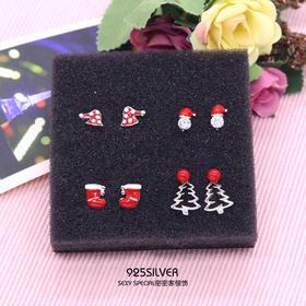 925纯银可爱萌萌哒红色圣诞帽圣诞靴子圣诞树耳钉女耳饰冬款耳环