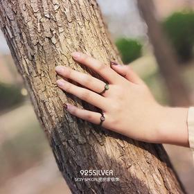 月夜森林戒指·925纯银我不介意荆棘小清新开口森系戒指指环尾戒