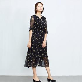 黄印花连衣裙-N