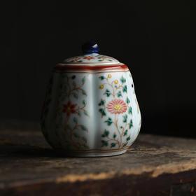 长物居 手绘五彩折枝花卉梨形茶叶罐 景德镇陶瓷茶仓茶罐茶具