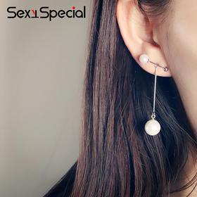 限量韩版·925纯银时尚简约气质贝珠耳钉女韩国耳坠创意耳饰个性