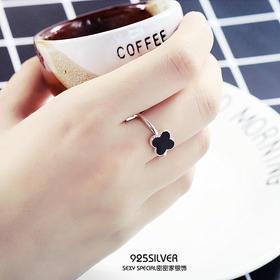 S990纯银个性黑四叶草开口戒指女日韩版潮人活口食指戒明星杂志款
