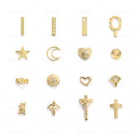 潮流新品金属饰品合金美甲饰品爱心月亮五星金条十字