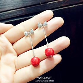 s925纯银韩国蝴蝶结红苹果长款精致显脸瘦的耳环超仙甜美气质时尚