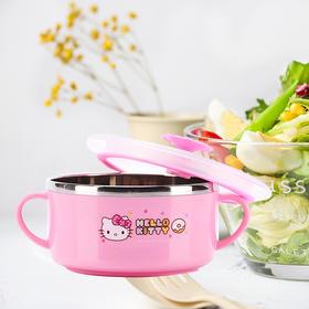 HELLO KITTY 凯蒂猫餐具 宝宝碗 儿童训练碗 带盖女童保温碗 YQKTMS-CJ95866P粉色