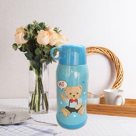 精典泰迪双盖儿童保温杯带吸管不锈钢水杯带背带男女学生保温杯子水壶