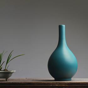 孔雀绿釉胆瓶 景德镇手工色釉陶瓷花插花瓶