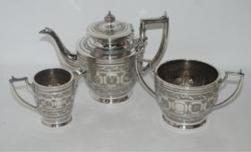 【菲集】三件套镀银茶具 艺术品 收藏品 轻古董 跨境直邮