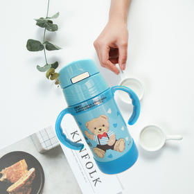 精典泰迪宝宝吸管学饮杯儿童吸管保温杯婴儿水杯6个月以上 蓝色(保温杯)
