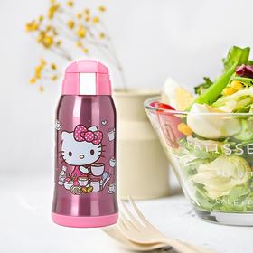 hello kitty水杯儿童保温杯带吸管两用宝宝保温瓶凯蒂猫可爱杯子 KT保温壶粉色 双盖