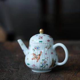 长物居 长窑制器 预定 青釉粉彩描金花蝶瓜棱茶壶 景德镇陶瓷茶壶