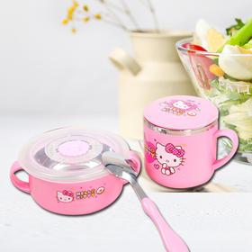 Hello Kitty 凯蒂猫儿童餐具 幼儿不锈钢餐具组合 套装礼品 HLKO-0396C粉色三件套礼盒
