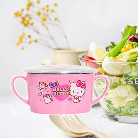 HELLO KITTY 凯蒂猫餐具 宝宝碗 大耳双训练湾 带盖女童保温碗 YQKTMS-CJ95866P粉色