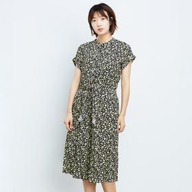 黄印花镂空连衣裙-N