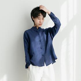 文艺苎麻衬衣女盘扣立领宽松蝙蝠袖棉麻衬衫
