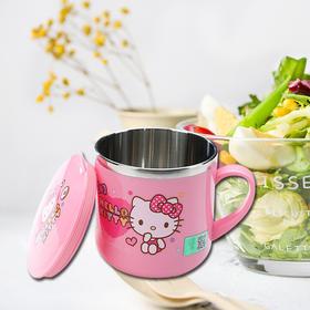 凯蒂猫(Hello Kitty) 儿童餐具不锈钢家用带盖碗卡通婴幼儿童碗牛奶杯宝宝吃饭碗 A款升级--水杯280ml彩盒装-9519