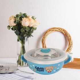 精典泰迪 儿童中双耳训练碗 304不锈钢带盖双层隔热碗礼盒学生宝宝辅食卡通防烫保鲜碗男孩儿童礼物
