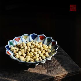现货 长窑制器 仿嘉靖 景德镇手绘五彩莲瓣形仿古瓷器赏盘果盘