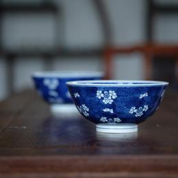 长物居 仿康熙 手绘青花冰梅纹小碗 景德镇手工陶瓷碗汤碗