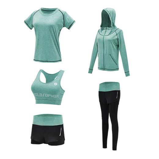 【为思礼】【冰感纤维瑜伽服5件套】新款春夏透气高弹瑜伽服 速干晨跑健身减重塑身运动套装5件套 商品图4