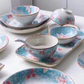 日式雪花釉玉兰花系列家用陶瓷餐具套装