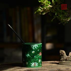 长物居 素三彩虎皮斑海兽笔筒 景德镇手绘仿古陶瓷文房摆件笔筒