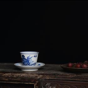 长物居 仿康熙手绘青花茶杯杯托 景德镇仿古陶瓷茶具茶杯
