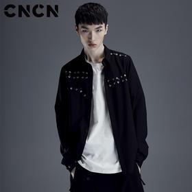 CNCN男装时尚不规则皮条编制衬衫 男士潮流修身长袖衬衣CNDC19128