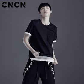 CNCN男装 简约薄款纯棉短袖T恤 男夏天黑白纯色T恤衫CNDT20959