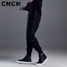 CNCN男装 春季男士休闲裤 黑色修身潮牌束脚裤男工装裤CNDK19141