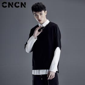 CNCN男装 夏天黑色潮牌短袖T恤 男 宽松棉氨弹力体恤CNDT20943