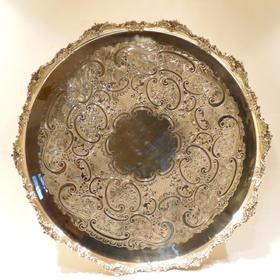 【菲集】艺术品 铜镀银的圆形托盘 容器 收藏品 跨境直邮