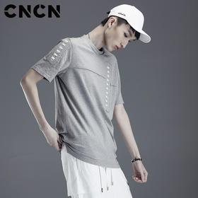 CNCN男装 灰色圆领流苏夏季体恤 男青年纯色薄短袖T恤CNDT20956