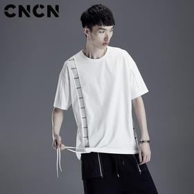 CNCN男装 夏季潮牌男士T恤 不规则流苏宽松纯棉薄款体恤CNDT20954